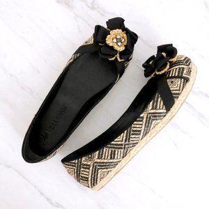 VERA WANG Women's Espadrille Black Tan Flats 8.5